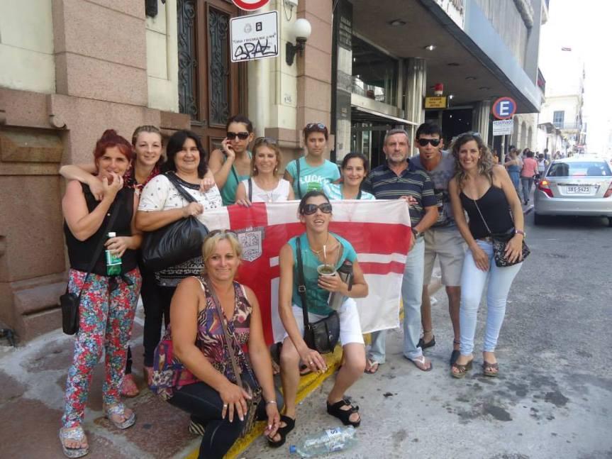 Covialfam, en el festejo tras el sorteo. Foto: red Facebook.