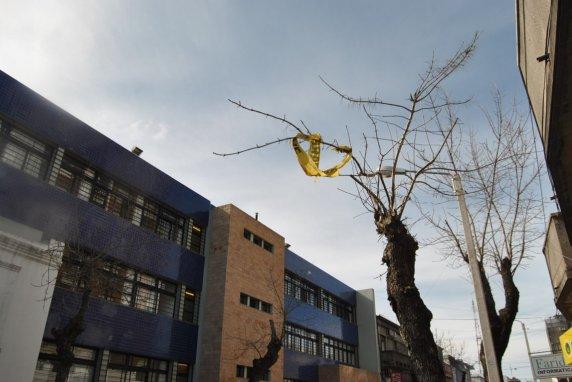 """Restos de una """"cinta pare"""" cuelga en un árbol frente al Liceo 2 de Florida. Los restos de bolsas de nylon en los árboles son comunes en Florida, donde la comuna reconoce que la basura es una problema endémico."""