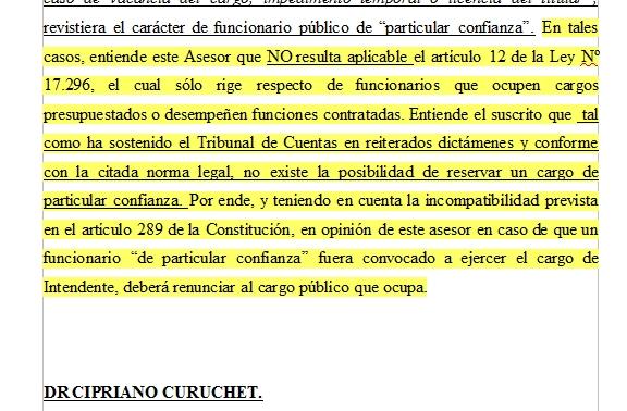 Informe de asesor jurídico sobre suplentes de Enciso: cargo de confianza debe renunciar