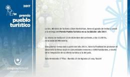 INVITACIÓN PREMIO PUEBLO TURÍSTICO