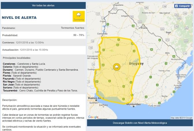 Florida y Sarandí Grande bajo advertencia amarilla