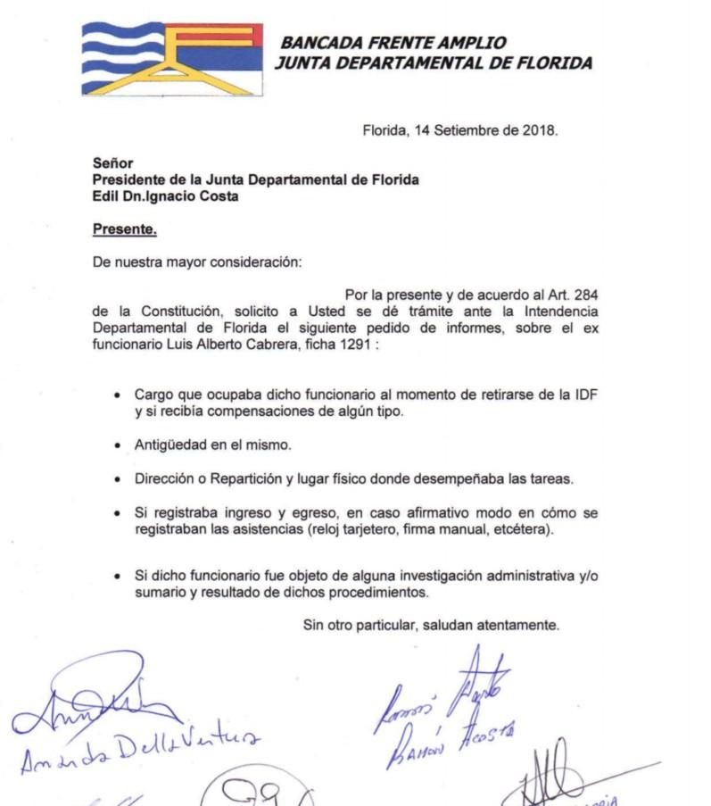 El pedido de informes del Frente Amplio.
